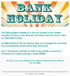 Spring Bank hol offer